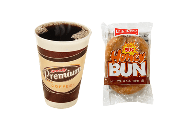 Purchase a Little Debbie Honey Bun and a hot beverage