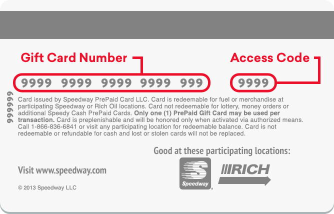 Speedy Rewards Card Number